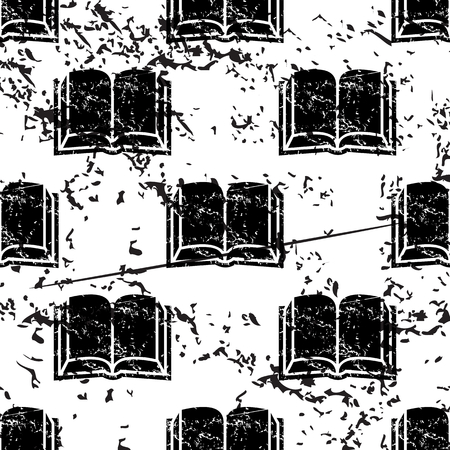 pattern grunge: Book pattern, grunge, black image on white background
