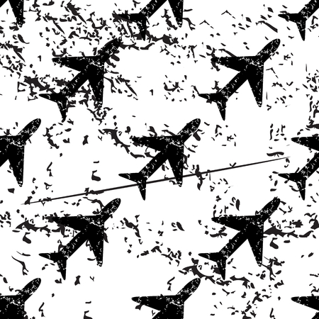 black grunge background: Plane pattern, grunge, black image on white background Illustration