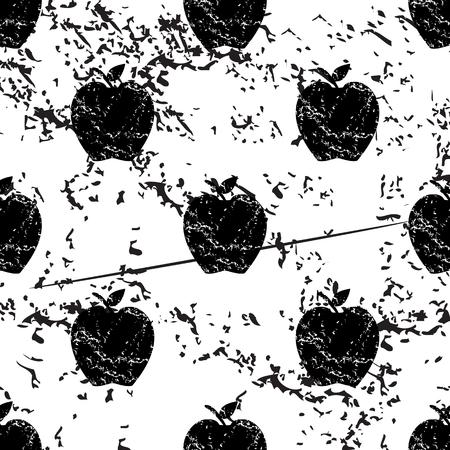 pattern grunge: Apple pattern, grunge, black image on white background
