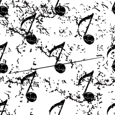 eighth note: Eighth note pattern, grunge, black image on white background