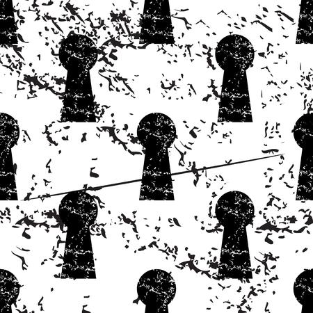 abriendo puerta: patrón de ojo de la cerradura, grunge, imagen en negro sobre fondo blanco