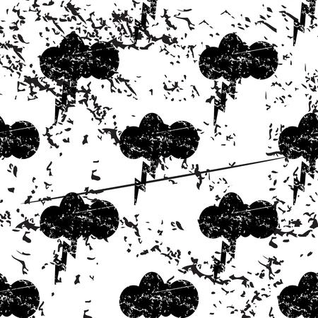pattern grunge: Thunderbolt pattern, grunge, black image on white background