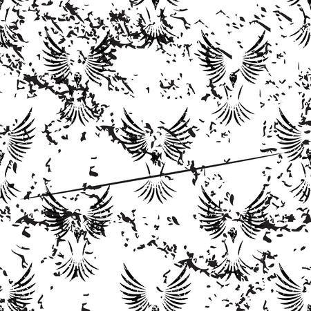 wing span: Flying bird pattern, grunge, black image on white background