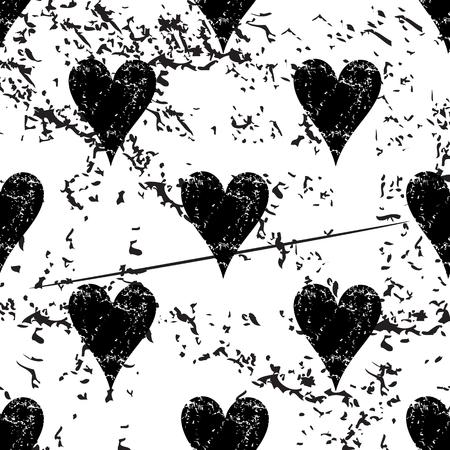 pattern grunge: Hearts pattern grunge, black image on white background