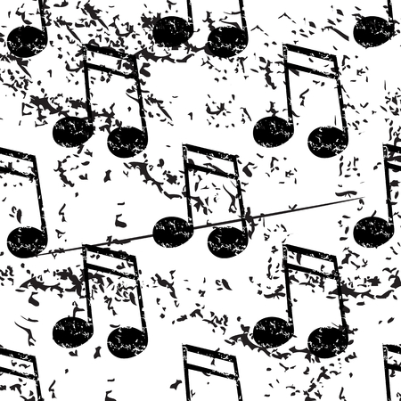 doubled: Sixteenth note pattern, grunge, black image on white background