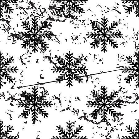 pattern grunge: Snowflake pattern, grunge, black image on white background Illustration