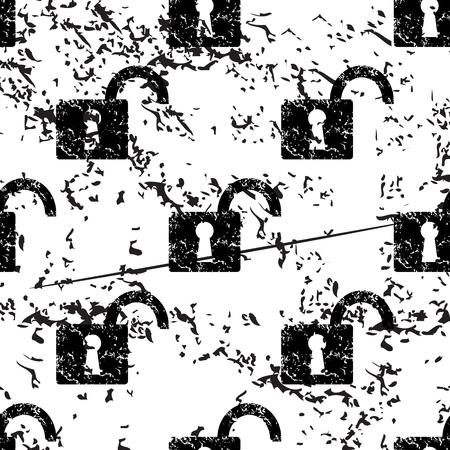 pattern grunge: Open padlock pattern, grunge, black image on white background