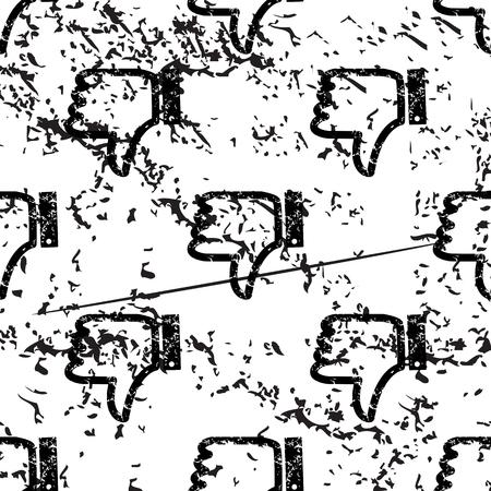 pattern grunge: Dislike pattern, grunge, black image on white background Illustration