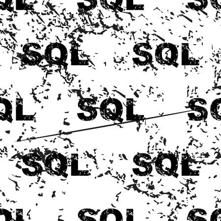 sql: SQL pattern, grunge, black image on white background