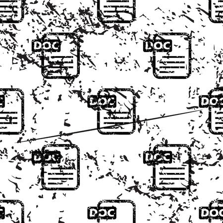pattern grunge: DOC document pattern, grunge, black image on white background
