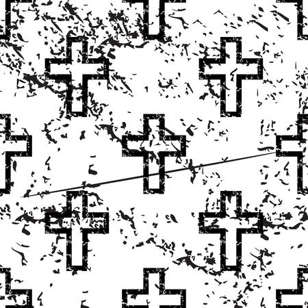 christian faith: Catholic cross pattern, grunge, black image on white background