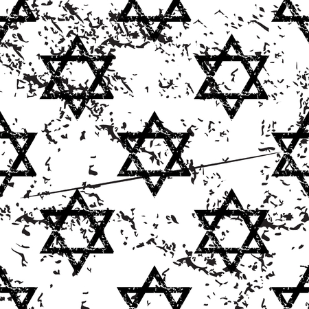 jews: Star of David pattern, grunge, black image on white background