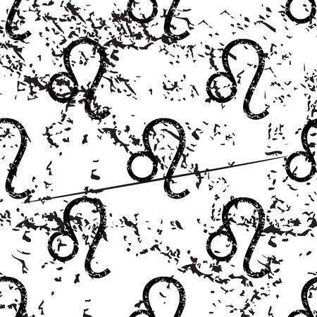 pattern grunge: Leo pattern, grunge, black image on white background Illustration