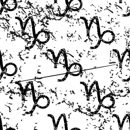 pattern grunge: Capricorn pattern, grunge, black image on white background