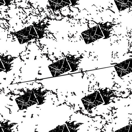 meaningful: Burning envelope pattern, grunge, black image on white background