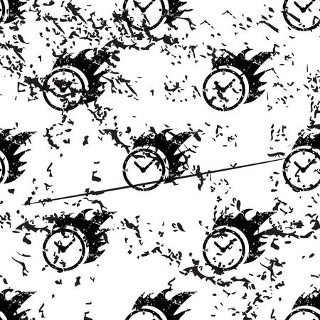 bounds: Burning clock pattern, grunge, black image on white background