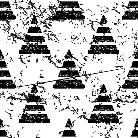 bypass: Traffic cone pattern, grunge, black image on white background Illustration