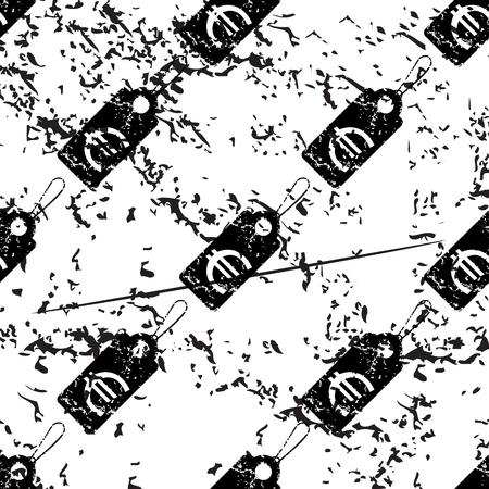 pattern grunge: Euro price pattern, grunge, black image on white background Illustration