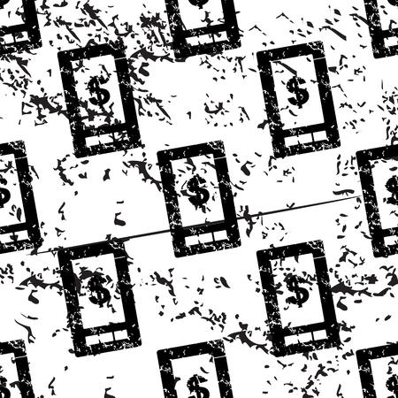 pattern grunge: Dollar screen pattern, grunge, black image on white background