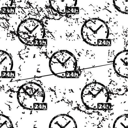 24h: 24h clock pattern, grunge, black image on white background