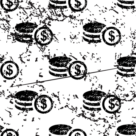 rouleau: Dollar rouleau pattern, grunge, black image on white background