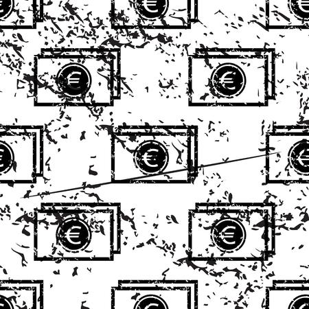 pattern grunge: Euro banknote pattern, grunge, black image on white background