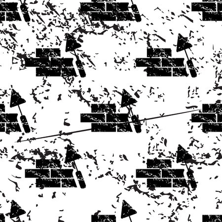 repeats: Building wall pattern, grunge, black image on white background