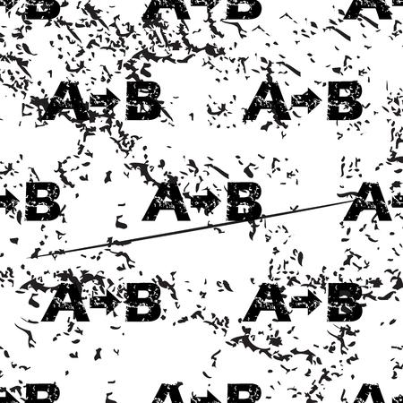 consequence: A-B logic pattern, grunge, black image on white background Illustration