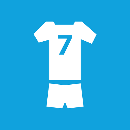 sport clothes: Sport clothes icon, simple white image isolated on blue background