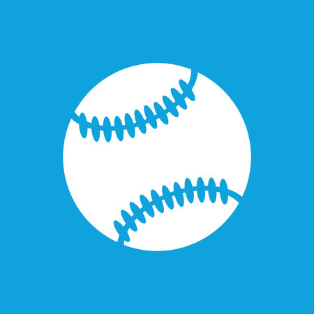 cowhide: Baseball ball icon, simple white image isolated on blue background