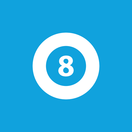 Eightball icon, simple white image isolated on blue background