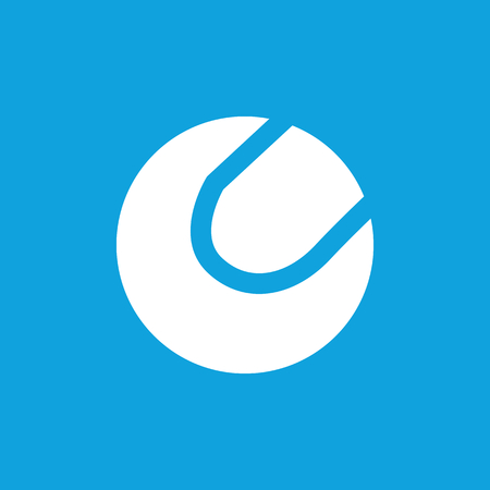 curvilinear: Tennis ball icon, simple white image isolated on blue background