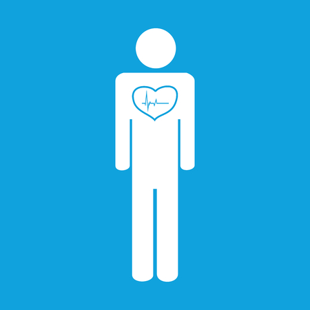 cardiological: Cardiological state icon, simple white image isolated on blue background