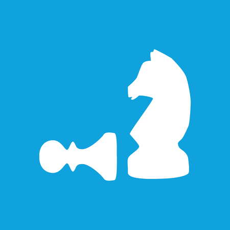 strategical: Chess icon, pawn and knight, simple white image isolated on blue background Illustration