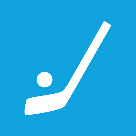 hockey: Hockey icon, simple white image isolated on blue background