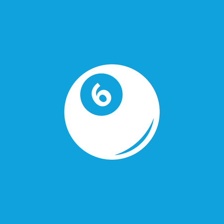 pool ball: Pool ball icon, simple white image isolated on blue background Illustration