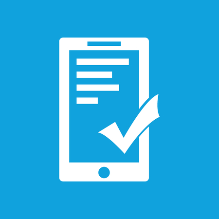 acceptable: Acceptable icon, simple white image isolated on blue background Illustration