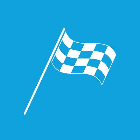 finish flag: Finish flag icon, simple white image isolated on blue background