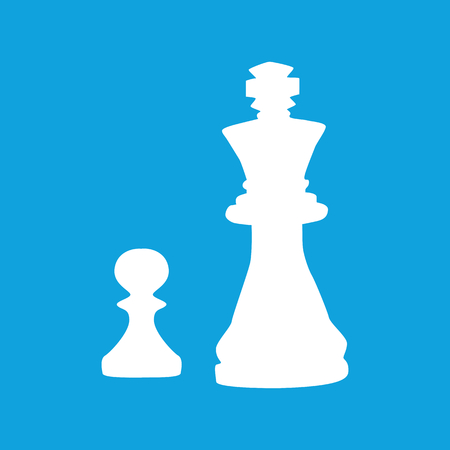strategical: Chess icon, simple white image of pawn and king, isolated on blue background Illustration