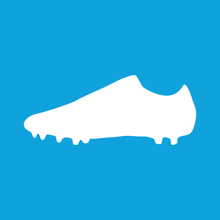 outsole: Football boots icon, simple white image isolated on blue background Illustration