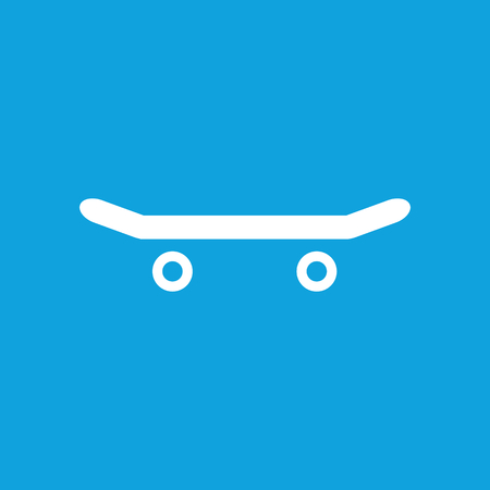 blue web icons: Skateboard icon, simple white image isolated on blue background