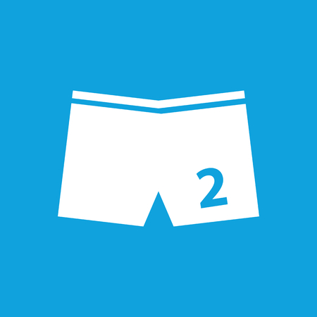 swimming trunks: Swimming trunks icon, simple white image isolated on blue background