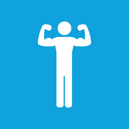 Trained man icon, simple white image isolated on blue background