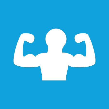 Muscular person icon, simple white image isolated on blue background Illustration