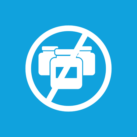 consume: No medicine icon, simple white image isolated on blue background
