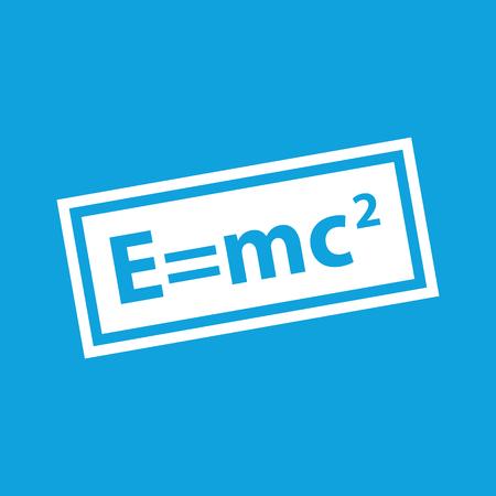 equivalence: Energy equivalence icon, simple white image isolated on blue background
