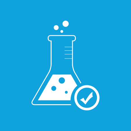 reagent: Reagent check icon, simple white image isolated on blue background
