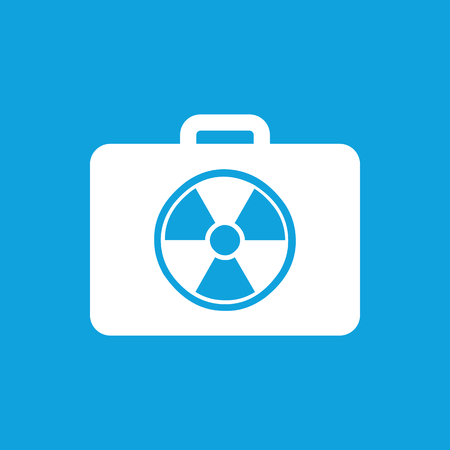 extreme science: Radioactive bag icon, simple white image isolated on blue background Illustration