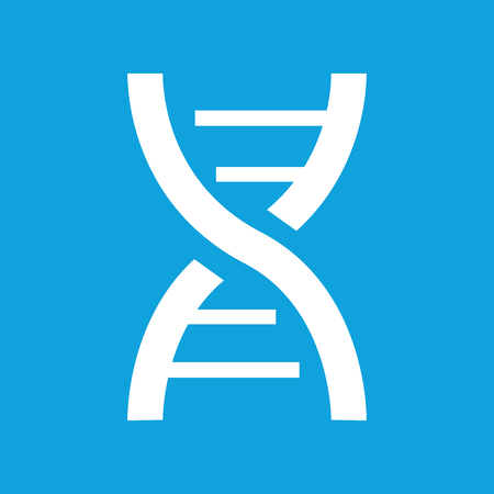 dna: DNA icon, simple white image isolated on blue background Illustration
