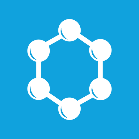 Hexagon Connection Icon, Simple White Image Isolated On Blue ...